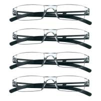4 Pairs Reading Glasses, Blue Light Blocking Glasses, Computer Reading Glasses for Women and Men, Fashion Rectangle Eyewear Frame(4 Black,+2.50 Magnification)