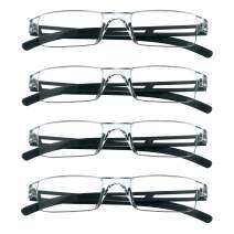 4 Pairs Reading Glasses, Blue Light Blocking Glasses, Computer Reading Glasses for Women and Men, Fashion Rectangle Eyewear Frame(4 Black,+1.50 Magnification)