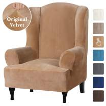 Velvet Plush Stretch Wingback Chair Covers Wing Chair Slipcover Wing Chair Covera Furniture Covers for Wingback Chairs Living Room, Feature Soft Thick Smooth Fabric Machine Washable, Sand