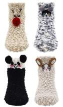 Lovful 4 Pairs Animal Super Warm Baby Fuzzy Soft Thick Socks