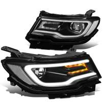 Pair 3D LED DRL + Turn Signal Projector Headlight Lamp Set Replacement for Jeep Compass 17-20