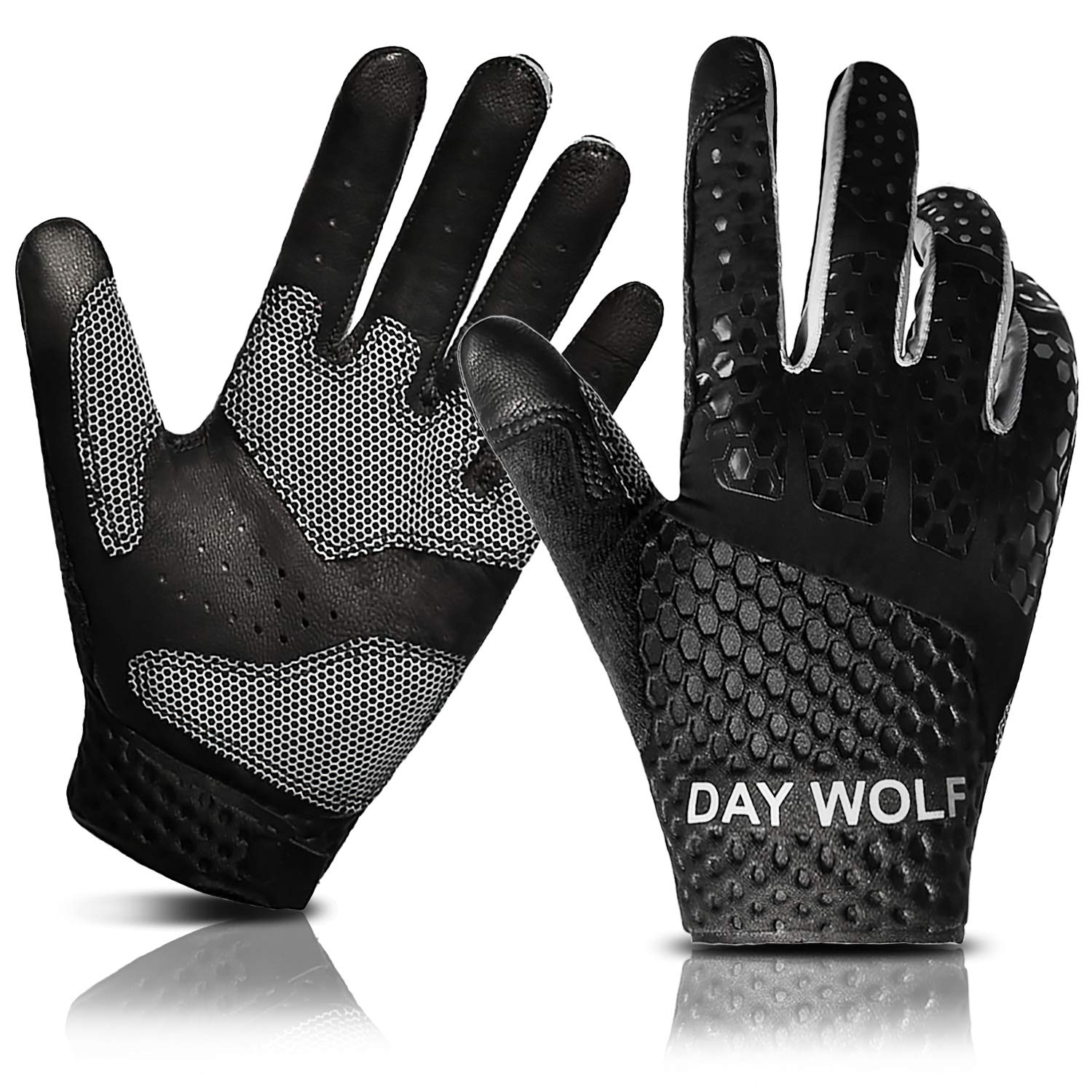 Full Finger Workout Gloves Gym Exercise Half Finger Fitness Gloves Heavy Weight Lifting Leather Palm Protection Strong Grip Padded Quality Breathable Comfort Gloves Size : M