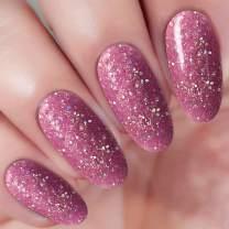 2 In 1 Pink Glitter Dip Powder Acrylic Nail Powder (Added Vitamin and Calcium) I.B.N Glitter Dipping Powder 1 Ounce, Non-Toxic & Odor-Free, No Need UV LED Nail Lamp (98)