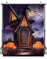 Dudaacvt 5x7ft Happy Halloween Backdrop Horror Night Fairy Tale House Pumpkin Face Bat Party Photography Background for Pictures Girl Boy Artistic Portrait Photo Shoot Studio PropsD208