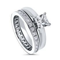 BERRICLE Rhodium Plated Sterling Silver Princess Cut Cubic Zirconia CZ Solitaire Engagement Wedding Ring Set 2.92 CTW