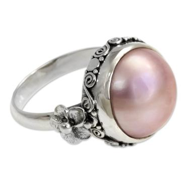 Pink Pearl Ring Mabe Pearl Silver Pink Pearl Ring Silver Dyed Pink Mabe Pearl Ring Pink Mabe Pearl Ring Solid Silver,