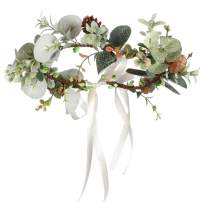 Folora Adjustable Flower Headband Natural Pine Cone Hair Wreath Floral Garland Crown Headpiece with Ribbon for Wedding Ceremony Party Festival (190711O)