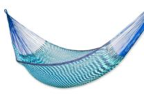 NOVICA Green Teal Blue Cotton Hand Woven Mayan Rope 2 Person XL Hammock, Riviera Sapphire' (Double)