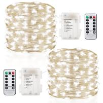 GDEALER 2 Pack Fairy Lights Christmas Decor 20 Ft 60 Led Battery Operated Christmas Lights with Remote Waterproof Twinkle Lights 8 Modes Firefly String Lights for Party Bedroom Wedding Decorations