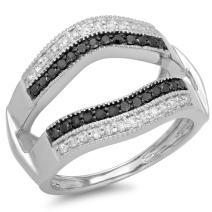 Dazzlingrock Collection 0.55 Carat (ctw) 10K Gold Black & White Diamond Double Row Wedding Band Millgrain Guard Ring 1/2 CT