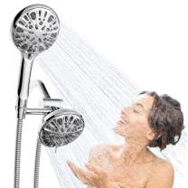 Auletin Dual Shower Heads-Detachable Shower Head with Hose High Pressure Handheld Shower Head with 9 Setting Spray and 5'' Rain Shower Head Combo, 5 Ft Shower Hose, Water-Saving,Tool Free Installation