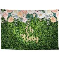 Allenjoy 7x5ft Fabric Oh Baby Themed Floral Green Leaves Backdrop Supplies for Baby Shower Newborn Children Birthday Party Decoration Favors Studio Portrait Pictures Shoot Props Photography Background