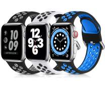 Lerobo 3 Pack Compatible for Apple Watch Band 40mm 38mm 44mm 42mm, Soft Silicone Sport Strap Breathable Replacement Bands for Apple Watch SE Series 6, Series 5, Series 3 4 2 1 Men Women, 38mm/40mm-M/L