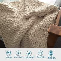 """EASTSURE Luxury Knit Chunky Throw Blanket Premium Super Soft Warm Cozy Chenille Blanket for Couch Bed Chair Beige 40""""x40"""""""