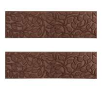 """Comme Rug Outdoor Stair Treads with Rubber Backing,Non-Slip,Outdoor Step treads,Set of 2,Floral Brown Pattern,8.5"""" x 30"""""""