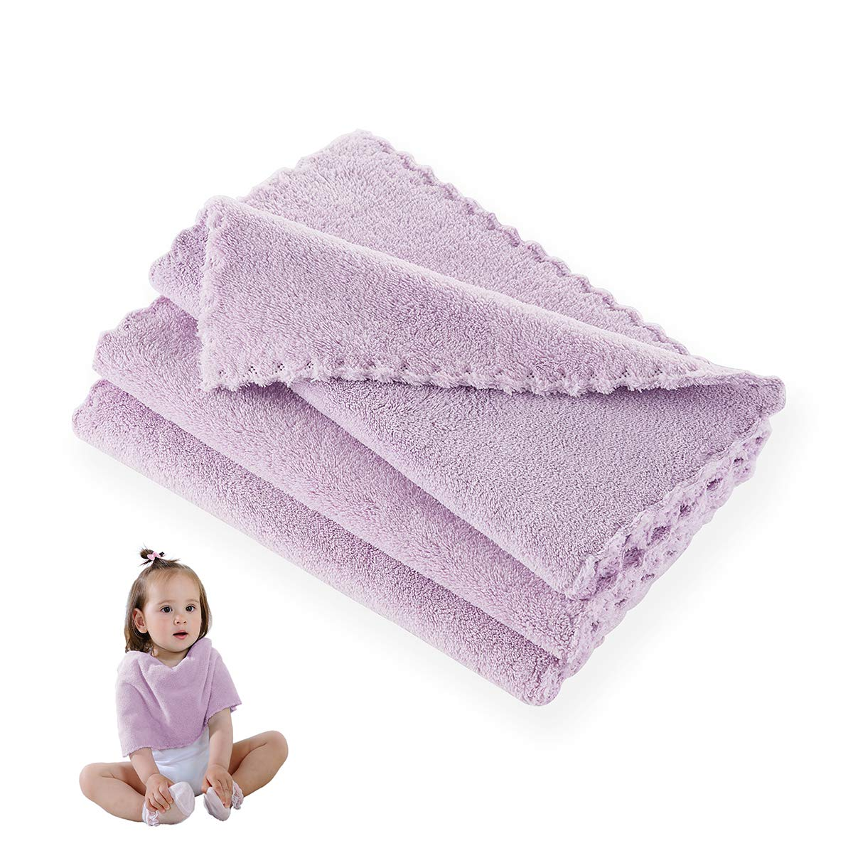 Hand Towel, Baby Washcloth Wipes, Extremely Soft & Absorbent, Extra Durable & Hypoallergenic, 3 Pack Set, 10 x 20 Inches, Perfect Cloth for Sensitive Skin of All Age –- Light Purple