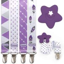 Liname 4 Pack Pacifier Clip for Boys & Girls w/Teething Toy - Baby Gift - for Soothers (Purple, Metal Clips)