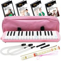 Melodica Keyboard Wind Instrument with Mouthpiece (32-Keys) Beginners Learn to Play Music, Sounds, Songs   Includes Training Ebooks and Soprano Recorder (Pink)