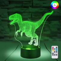[ 7 Colors/3 Working Modes/Timer Function ] Remote and Touch Control Dinosaur/Velociraptor Night Lights, Dimmable LED Bedside Lamp for Children and Kid's Room