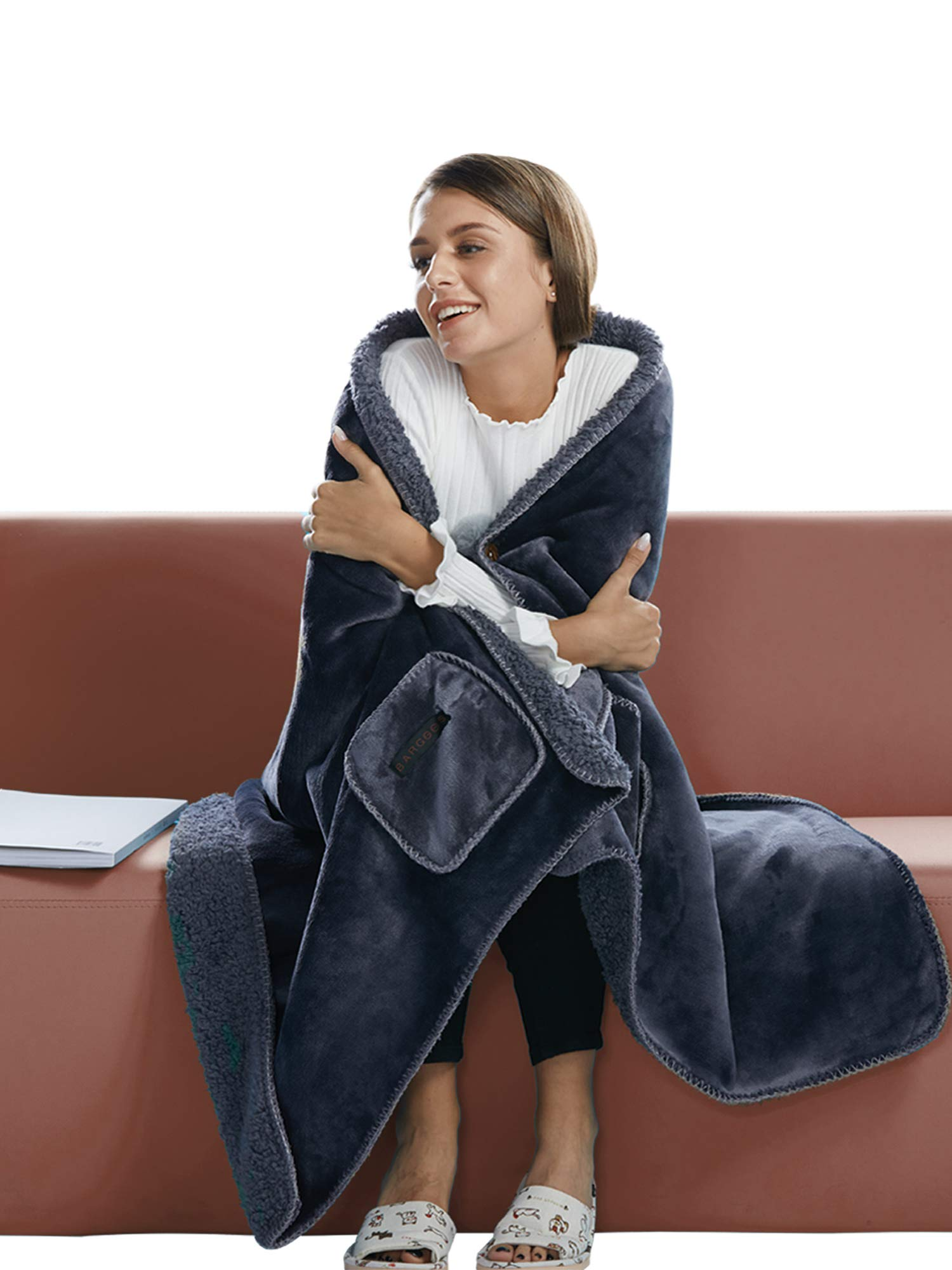 """BARGOOS Thick Wearable Blanket Poncho Warm Cozy Throw Wrap Shawls with Pockets Fleece Flannel Sherpa Plush Grey Large 79"""" x 32"""""""