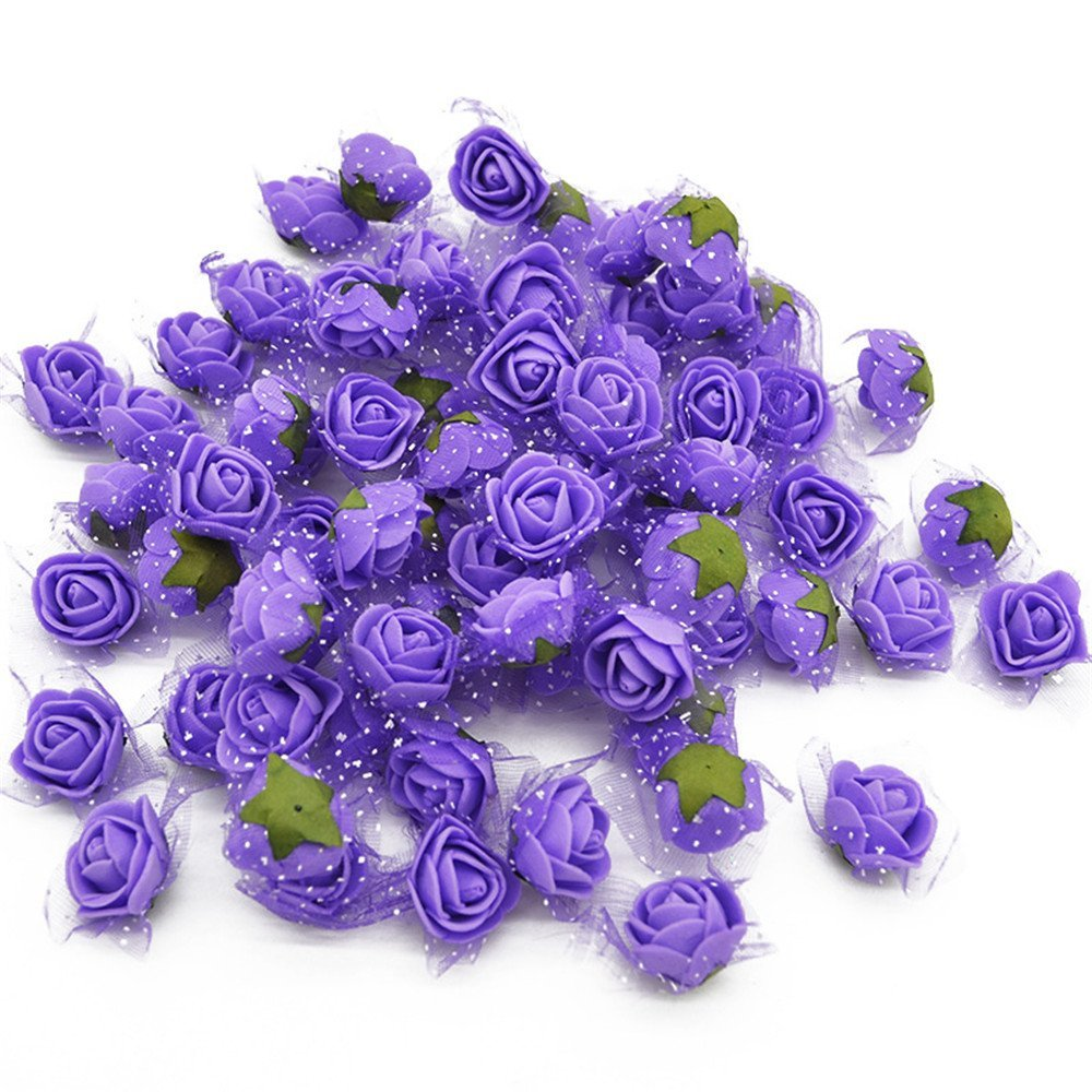 YONGSNOW Mini PE Foam Rose Flower Head 200pcs 2cm Artificial Rose Heads for DIY Scrapbooking Wreath Wedding Party Home Decoration (Purple)