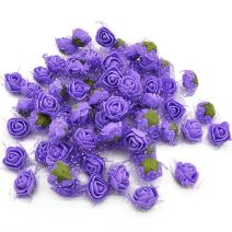 YONGSNOW Mini PE Foam Rose Flower Head 200pcs 2cm Artificial Rose Heads for DIY Scrapbooking Wreath Wedding Party Home Decoration (Purple)