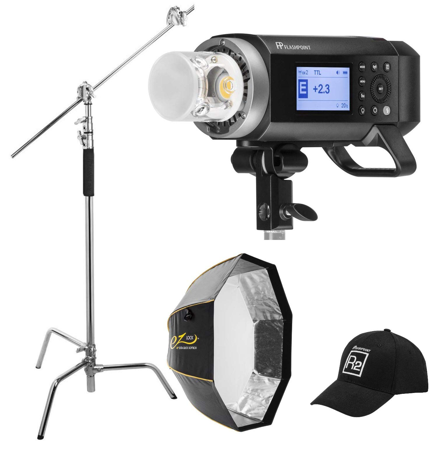 """Flashpoint XPLOR 400PRO R2 TTL Battery-Powered Monolight Kit with Glow 48"""" EZ Lock Octa Softbox and C-Stand"""