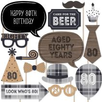80th Milestone Birthday - Dashingly Aged to Perfection - Birthday Party Photo Booth Props Kit - 20 Count