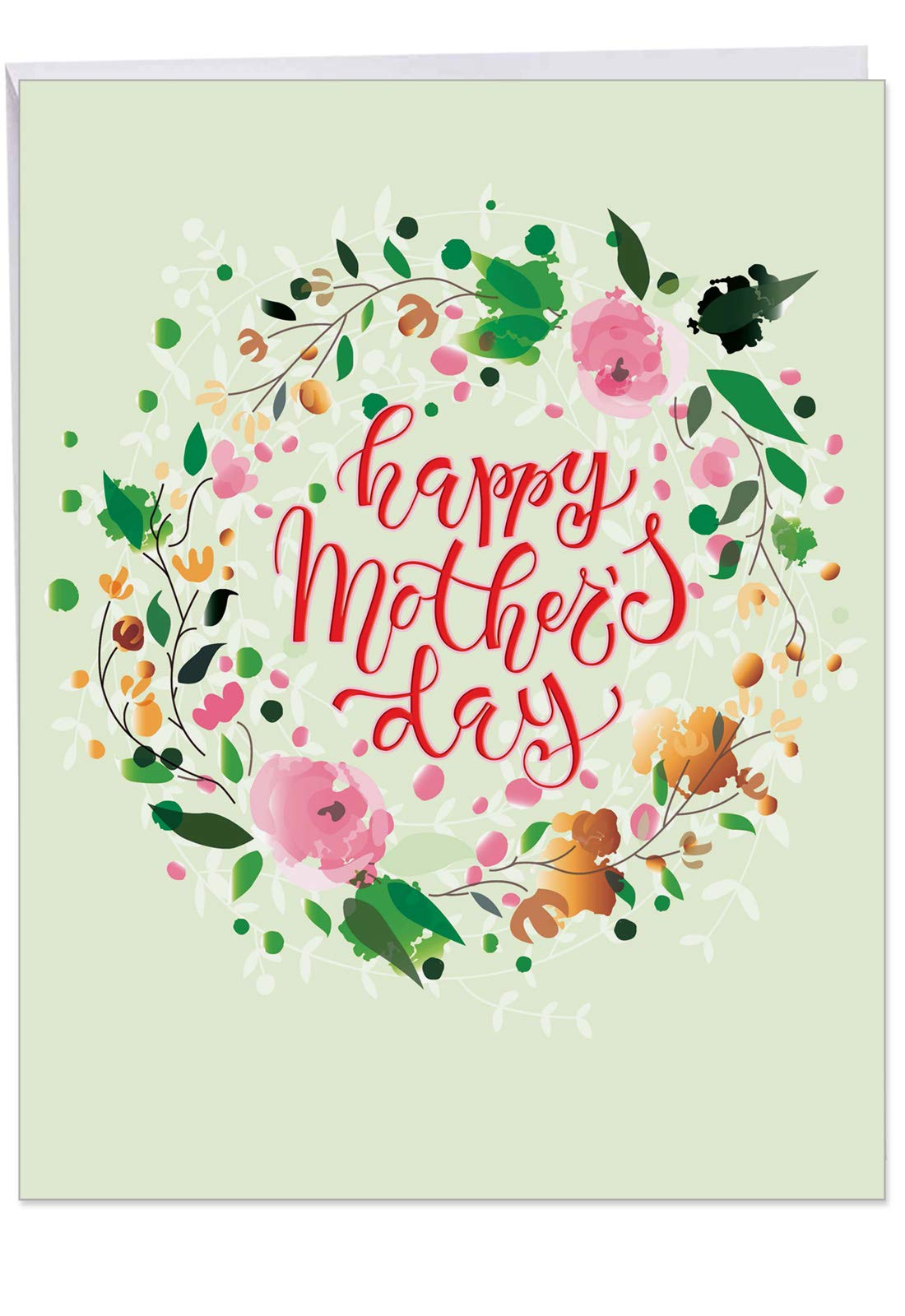 Watercolor Mother's Day - Colorful Happy Mothers Day Card with Envelope (Extra Large 8.5 x 11 Inch) - Painted Flower Wreath Greeting Card for Mom - Big Stationery Notecard J3484MDG