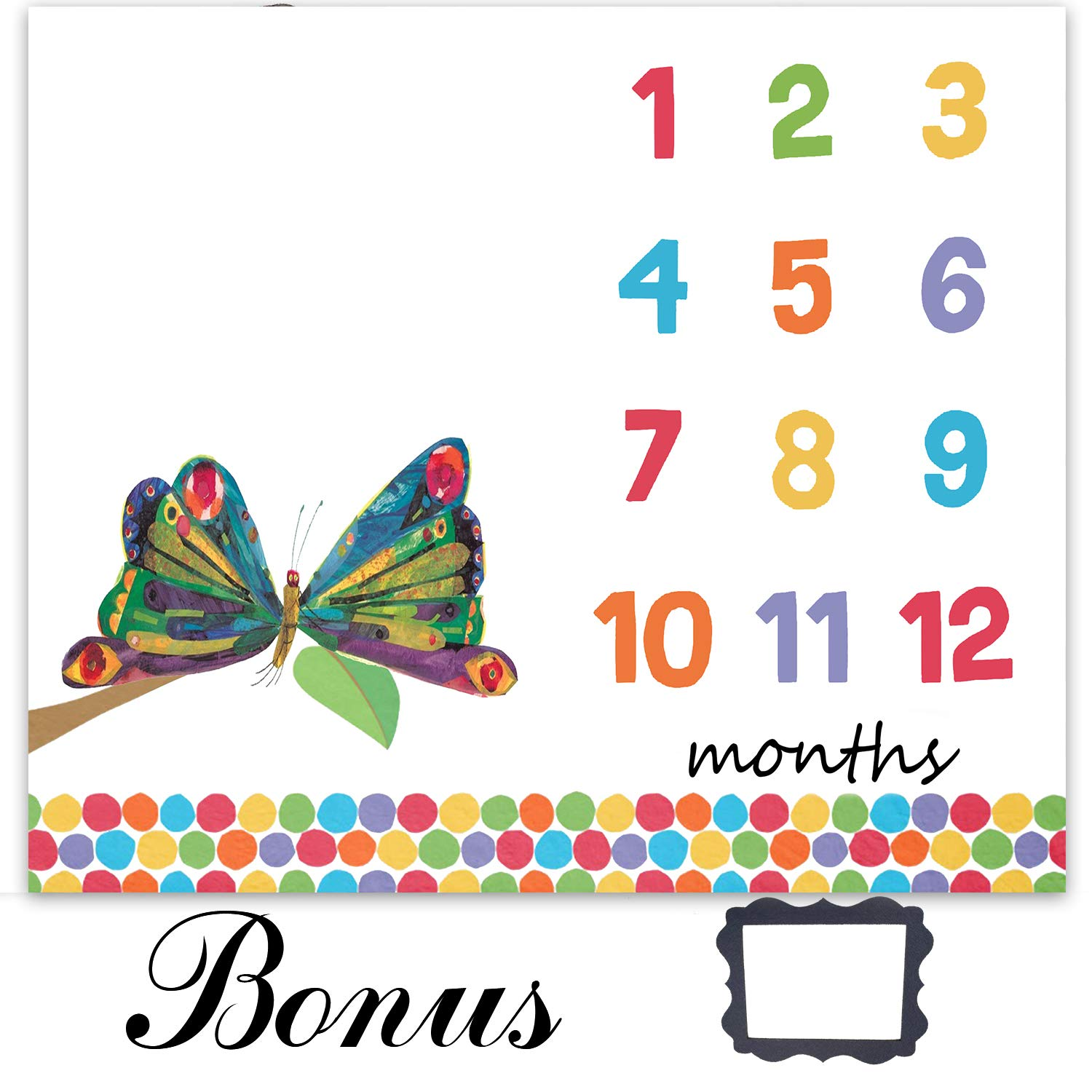 EARVO Butterfly Photography Blanket 47x40 inches Milestone Blanket The Very Hungry Caterpillar Dots Baby Growing Gifts for Baby Shower Swaddle & Throw for Infant & Babies EADS475