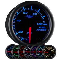 "GlowShift Black 7 Color 100 PSI Fuel Pressure Gauge Kit - Includes Electronic Sensor - Black Dial - Clear Lens - for Car & Truck - 2-1/16"" 52mm"