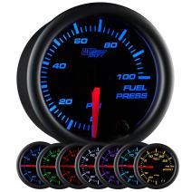 "GlowShift Black 7 Color 100 PSI Fuel Pressure Gauge Kit - Includes Electronic Sensor - Black Dial - Clear Lens - for Car & Truck - 2-1/16"" 52mm"