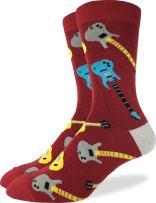 Good Luck Sock Men's Red Guitar Crew Socks - Red, Shoe Size 7-12