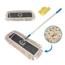 "Houseables Dust Mop, Large Floor Cleaning Mops, 34""-59"", 24"" W, 1 Handle, 1 Head, 2 Refills, Grey, Blue, Commercial, Eco-Friendly Floors Cleaner, Professional, Custodian, Hardwood, Wood, Bathroom"