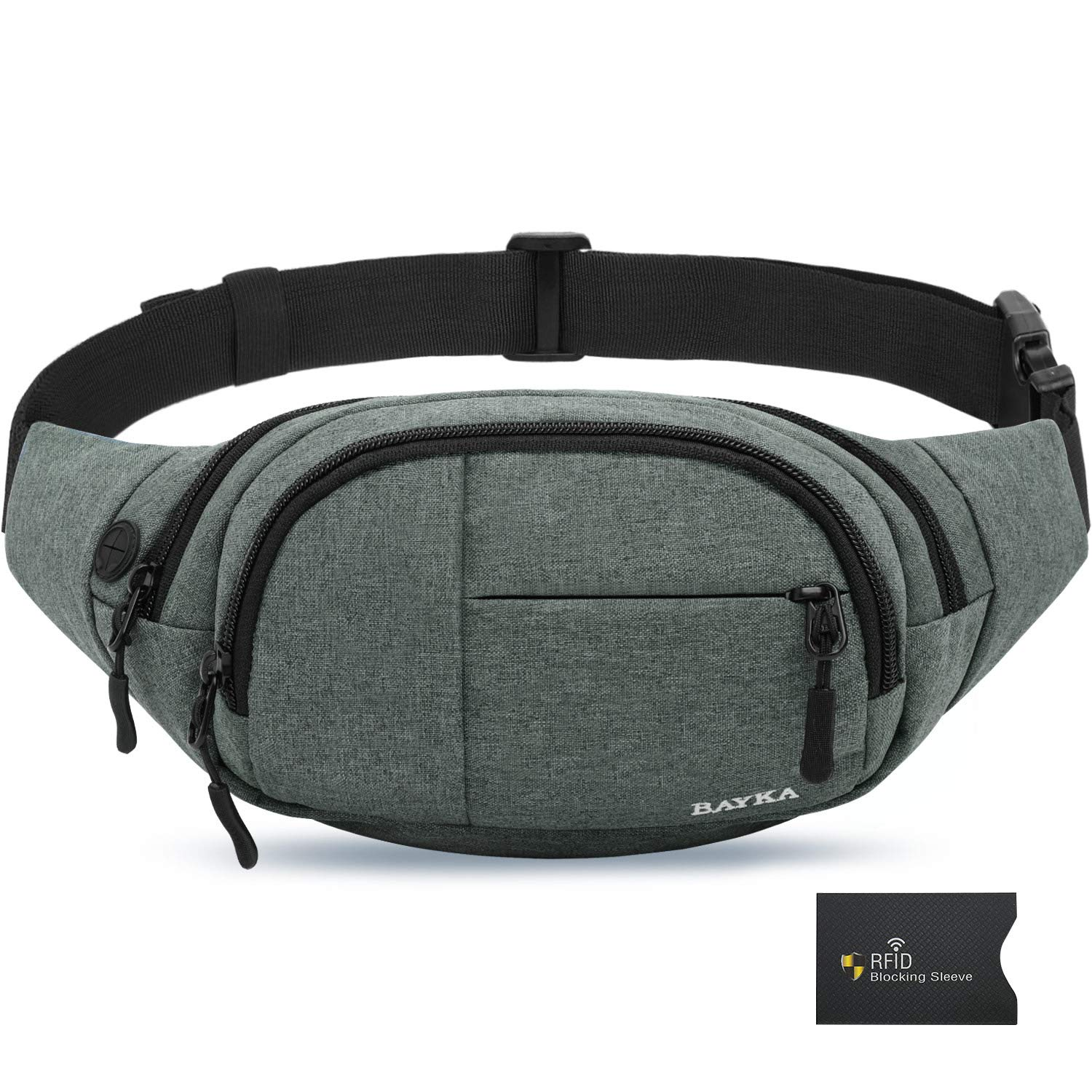 BAYKA Fanny Pack for Men and Women, Water Resistant Fashion Waist Bag with Adjustable Belt and RFID Blocking Sleeve, 300D Polyester Waist Pack for Outdoor, Travel, Hiking, Running