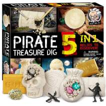 XXTOYS Pirate Treasures Dig Kit Break Into 5 Bricks Treasure Excavation Kits Pirate Toys Gems Dig Kits Interactive Excavating Toys Great Birthday Gift Party Supplies Archeology Educational STEM Kits