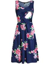 OUGES Womens Sleeveless Summer Floral Maternity Dresses Nursing Gown Breastfeeding Clothes