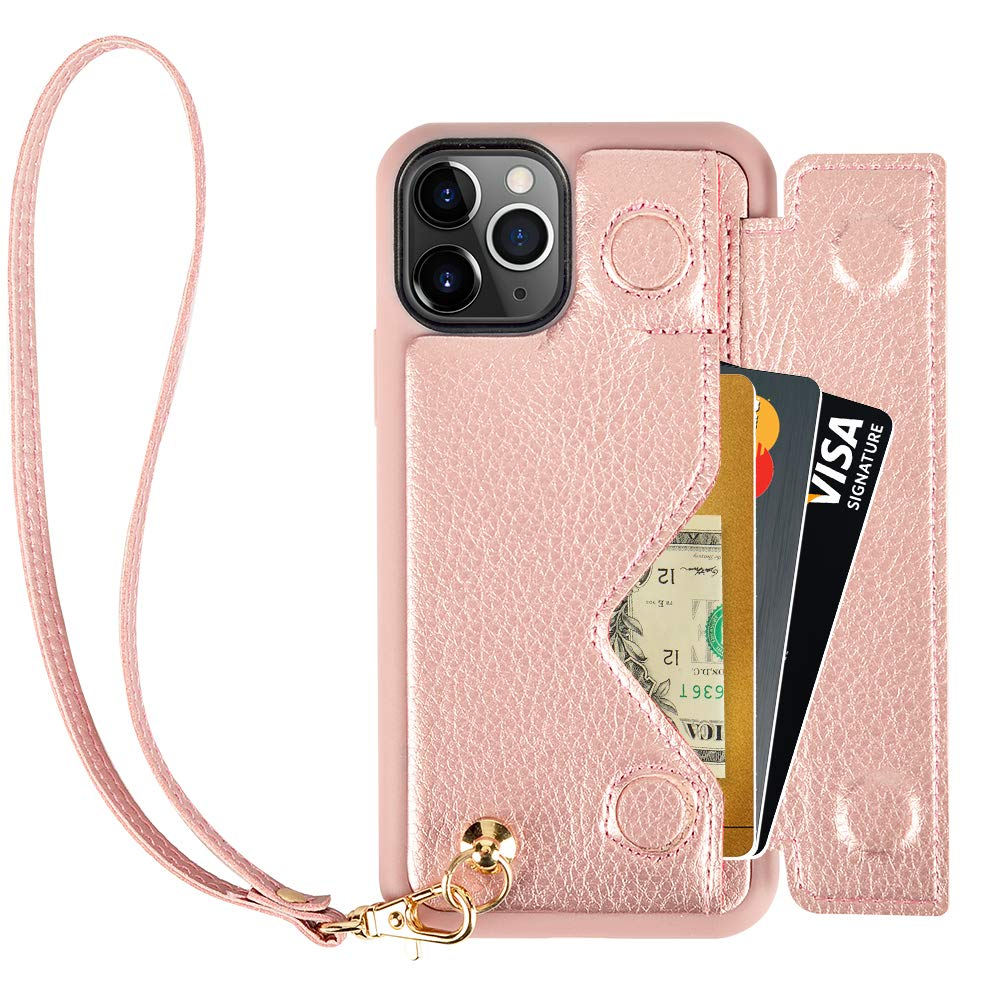 iPhone 11 Pro Max Wallet Case, iPhone 11 Pro Max Case with Card Holder Wrist Strap, ZVEdeng iPhone 11 Pro Max Wallet Case Leather Credit Card Case Flip Phone Case Handbag Purse-Rose Gold