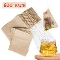 NEPAK 600 Pcs Disposable Tea Filter Bags for Loose Tea,Drawstring Empty Bag for Loose Leaf Tea,with 100% Natural Unbleached Paper(3.15 x 3.94 inch)