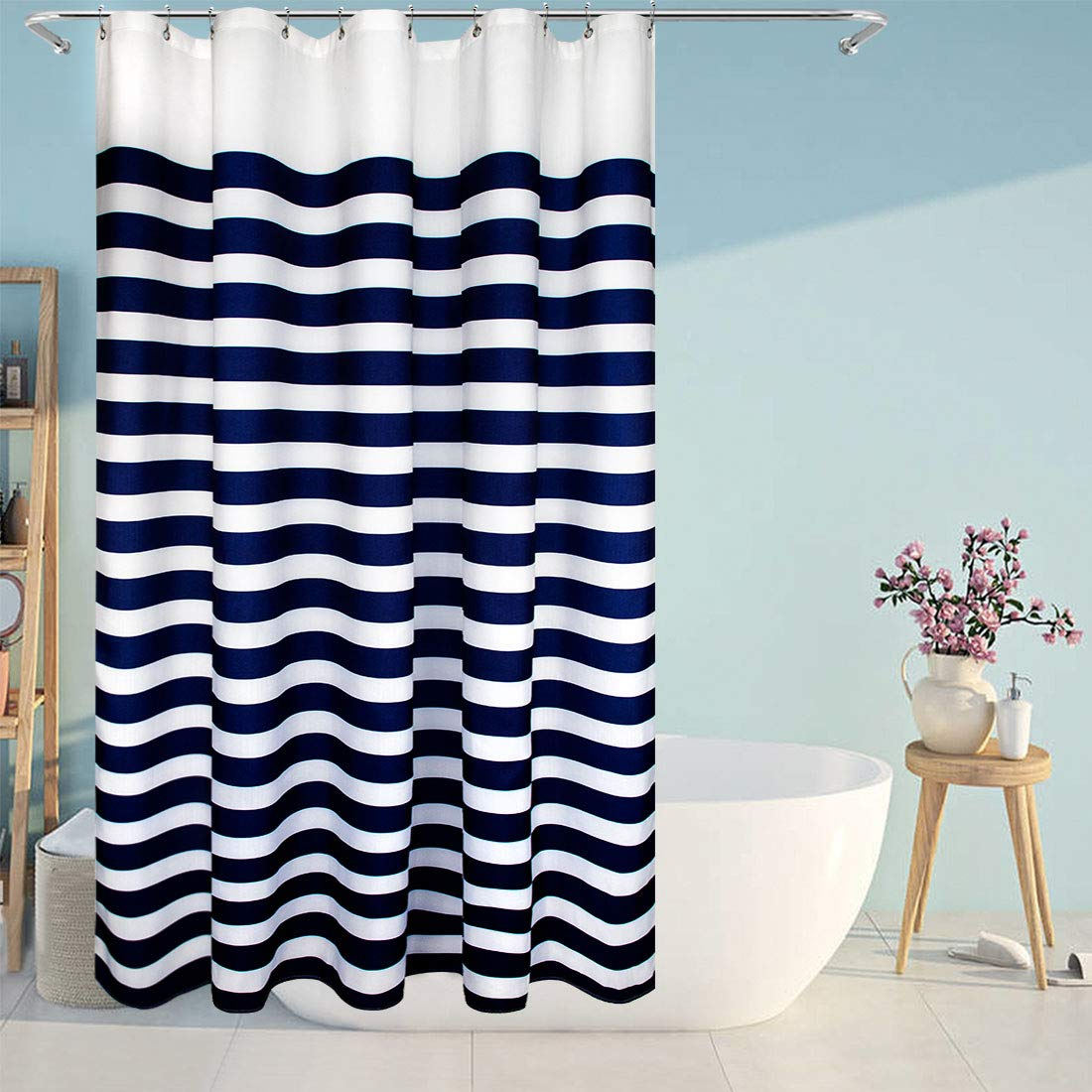 Eforcurtain Nautical Stripes Mildew Proof Water-Repellent Fabric Shower Curtain,Navy and White, Stall Size 54 by 78-inch Extra Long