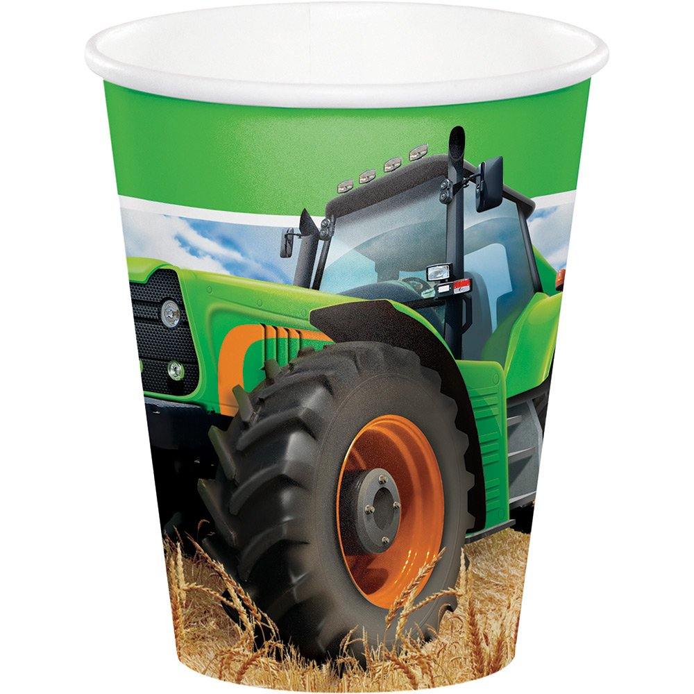 Creative Converting 318055 96 Count 9 oz Hot/Cold Paper Cups, Tractor Time