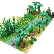 Feleph Forest Garden Building Blocks with 2 Base Plates(10 Inches for Each), Rainforest Plants Tree Flowers Bricks Toy Accessories, Jungle Building Kit Compatible with Major Brands