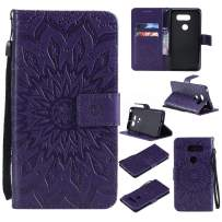 MEUPZZK 3D Sunflower Wallet Case for LG V30 / V35 ThinQ with Credit Card Slots Holder Magnetic Closure Slim Flip Leather Kickstand Function Protective Case for LG V30 Purple