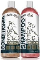 Paws & Pals Natural Oatmeal Dog Shampoo and Conditioner Combo, 2-in-1 Best for Cats & Dogs Dry Itchy Skin - Made in USA w/Medicated Clinical Vet Formula - Anti Itch Moisturizing Pet Soap for Sensitive