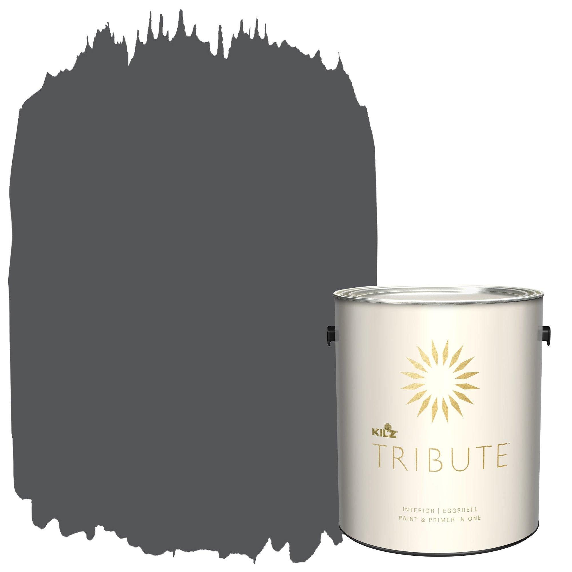 KILZ TRIBUTE Interior Eggshell Paint and Primer in One, 1 Gallon, Motor Gray (TB-38)