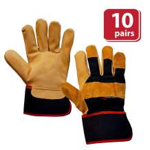 SAFE HANDLER XGrip Camel Leather Gloves | Elastic Band Wrist, AB Camel Leather, Leather Knuckle Protection Work Gloves, OSFM, 10 Pairs