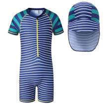 Vivobiniya Baby boy one Piece Swimsuits Rash Guard Sets with Sun Hats Blue (4Y(H41.3-45.2IN), Stripe)