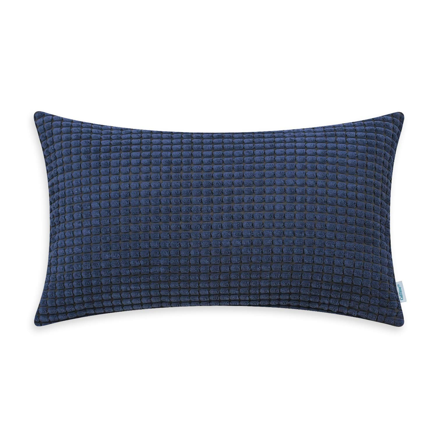 CaliTime Cozy Bolster Pillow Cover Case for Couch Sofa Bed Comfortable Supersoft Corduroy Corn Striped Both Sides 12 X 20 Inches Navy Blue