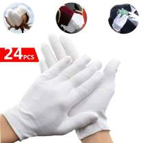 Unisex Soft White Cotton Gloves for Dry Hands Large Cotton Work Gloves Reusable Dry Hands Eczema Moisturizing (Medium)