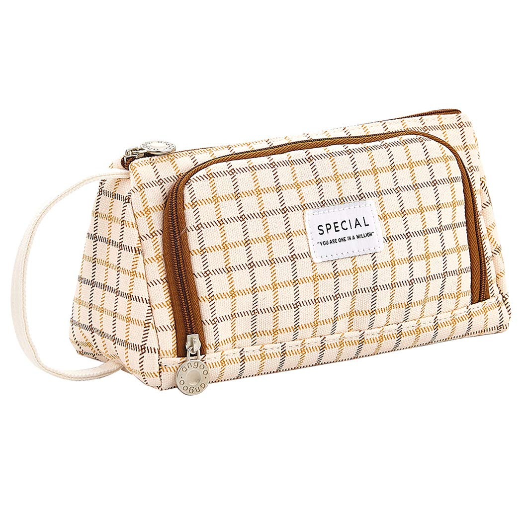 iSuperb Large Size Pencil Bag Roomy Pencil Pen Pouch Organizers Cosmetic Pouch Charge Case for Travel Office with Hand Strap (Brown Grid)